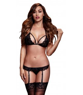 Baci - Black Lacy Bra Garter & Open Crotch Panty, Black